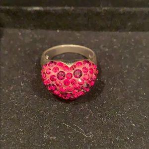 Swarovski Crystal chunky heart ring
